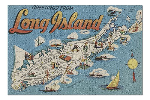 Greetings from Long Island, New York View - Vintage Halftone (20x30 Premium 1000 Piece Jigsaw Puzzle, Made in USA!) (Island Postcard)