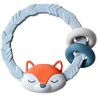 Itzy Ritzy Silicone Teether with Rattle; Features Rattle Sound, Two Silicone Rings & Raised Texture to Soothe Gums; Ages…