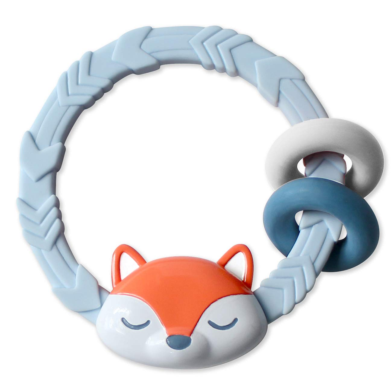 Itzy Ritzy Silicone Teether with Rattle; Features Rattle Sound, Two Silicone Rings & Raised Texture to Soothe Gums; Ages 3 Months & Up; Fox