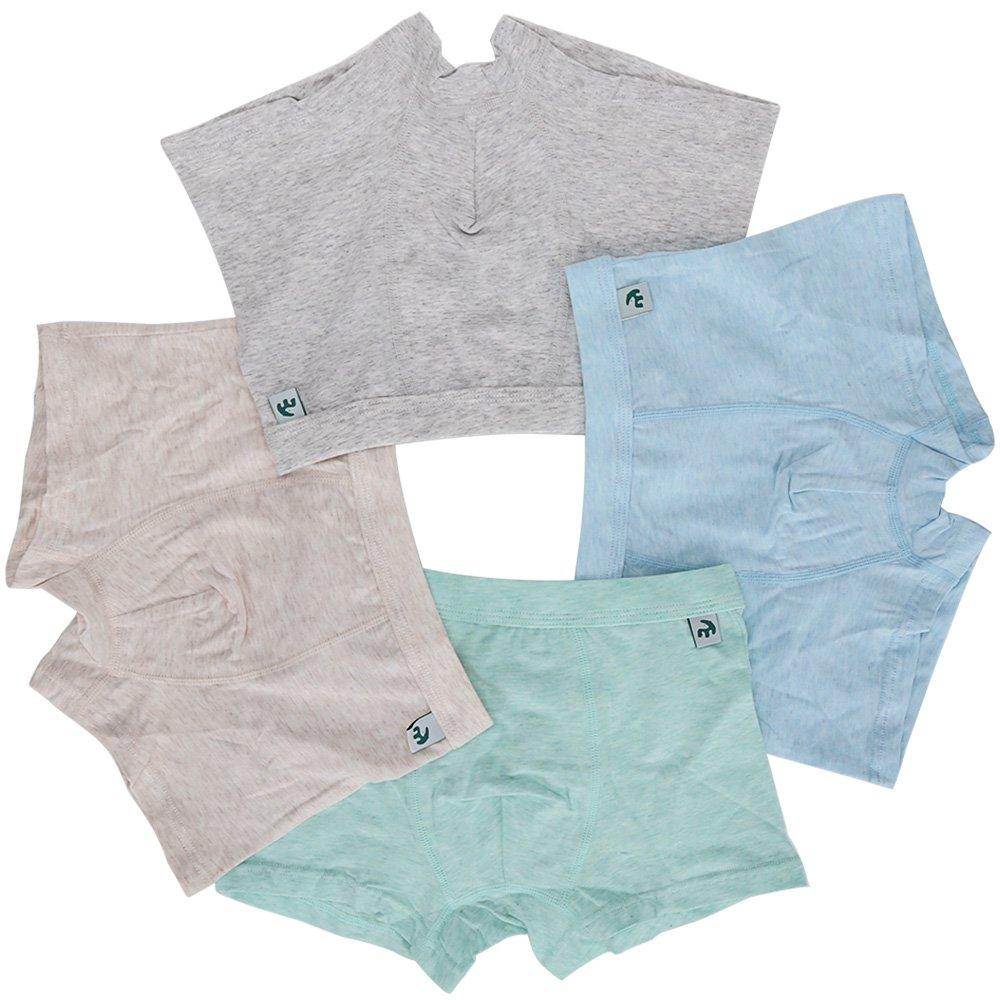 KiMiSUGOi Boy's 4 Pack Boxer Briefs Comfortable Cotton Short Toddler Underwear Set