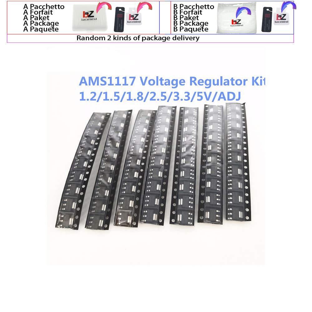 70pcs kit Voltage Regulator Kit AMS1117 1.2V//1.5V//1.8V//2.5V//3.3V//5.0V//ADJ lm1117 AMS1117-1.2 AMS1117-1.8 AMS1117-2.5 AMS1117-3.3,AMS1117-5.0 50pieces