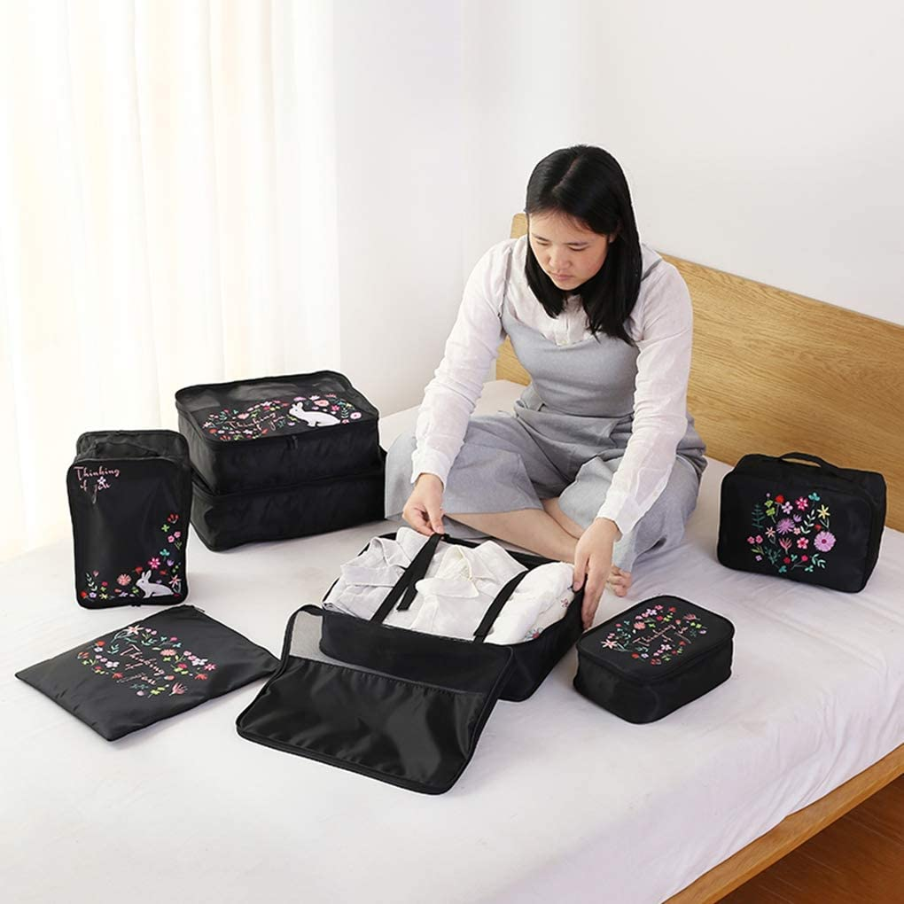 7 Set Packing Cubes for Travel,Travel Storage Pouch Suitcase Bags Combination Luggage Organisers,Packing Organizers Packing for Travel,Black