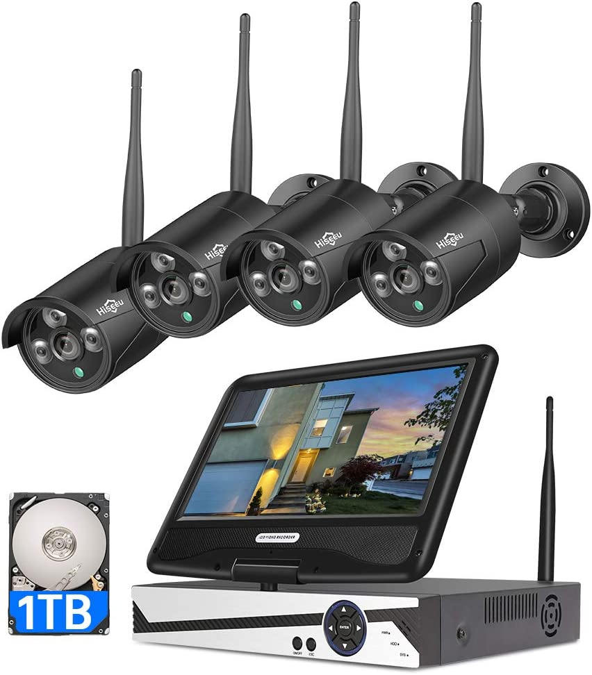 8CH Expandable All in one with 10.1 LCD Monitor Wireless Security Camera System, Home Business 8CH 1080P NVR Kit 4Pcs 2MP Outdoor Bullet IP Cameras Black 65ft Night Vision Waterproof,1TB Hard Drive