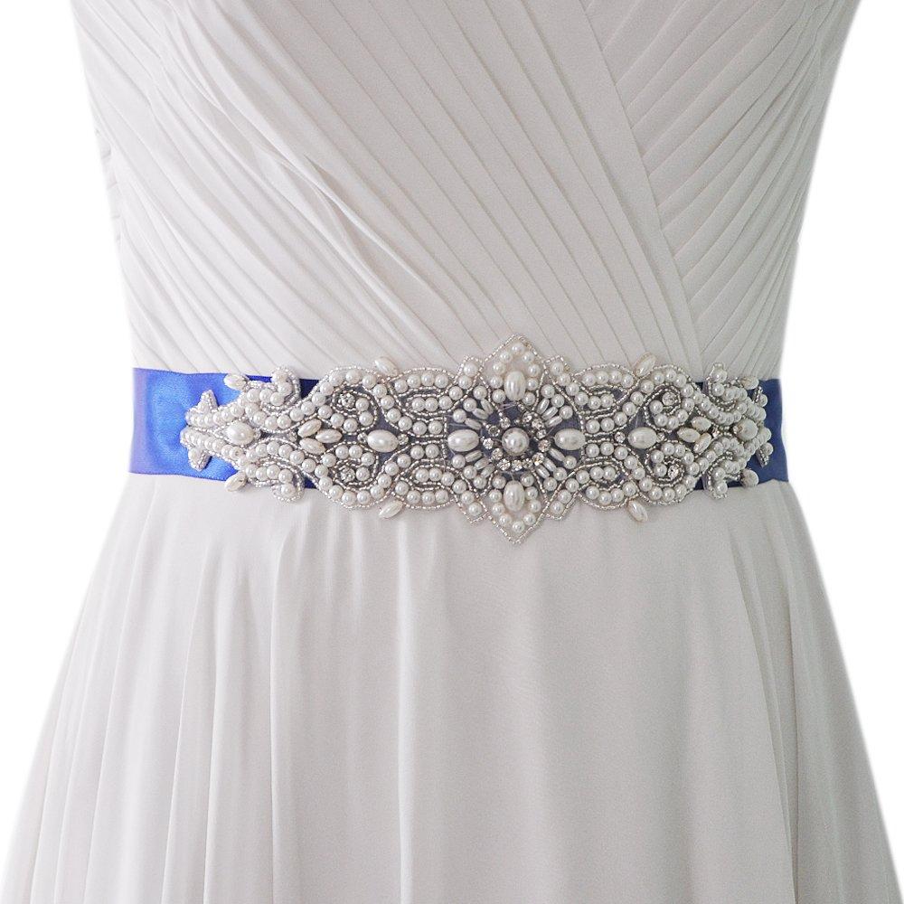 THK Wedding Sash Bridal Crystal Pearl Belt Bridal Sash Belt for Wedding Hairband
