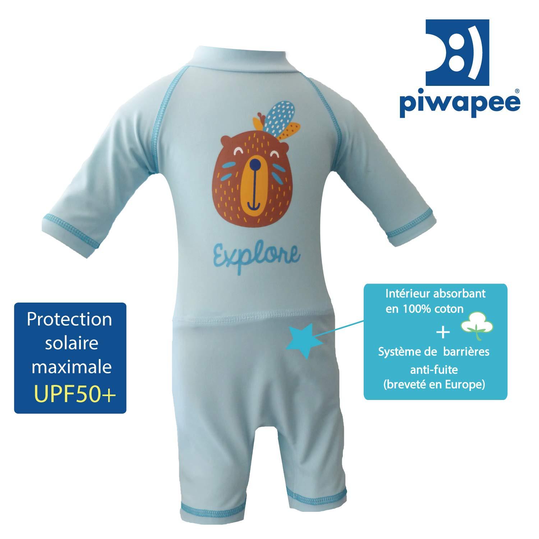 4-8 KG 3-6 M Combinaison Anti UV UPF50+ avec couche de bain clipsable SWIM+ Castor Piwapee