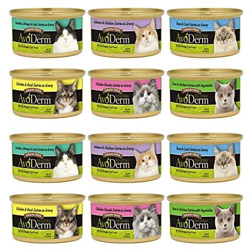 AvoDerm Grain-Free Cat Food 6 Flavor Variety Bundle: (2) Tuna&Chicken, (2) Chicken&Duck, (2) Chicken Chunks, (2) Tuna&Crab, (2) Sardines, Shrimp&Crab, and (2) Salmon&Chicken, 3 Oz Each (12 Cans Total)