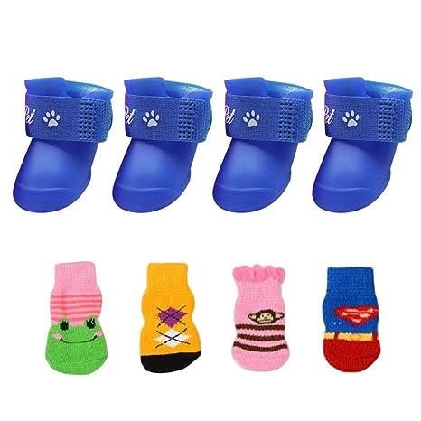 AOLVO 2 Pares de Zapatos de Perro Impermeables para la Lluvia, Nieve, Botas de