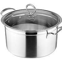 Housoutil Stainless Steel Soup Pot Stock Pot Milk Pot Quart Soup Pot Casserole Pot with Lid Pasta Pot Cooking Pot Sauce…