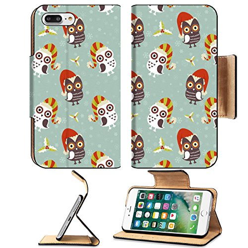 Liili Premium Apple iPhone 7 Plus Flip Pu Leather Wallet Case iPhone 7 Plus 16424343 Cute Christmas owl with presents seamless pattern (Clipart Holly Christmas)
