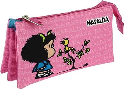 Grafoplás 37540649-Estuche portatodo triple diseño Mafalda Pajarito: Amazon.es: Oficina y papelería