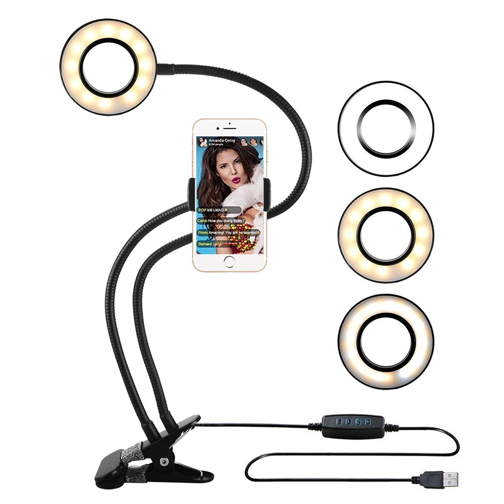Selfie Ring Light with Cell Phone Holder Stand for Live Stream,Gooseneck Cell Phone Stand,Dimmable[3-Light Mode][10-Level Brightness],Selfie Ring Light for iPhone 7,6/Plus,Huawei,HTC,Samsung by Purada