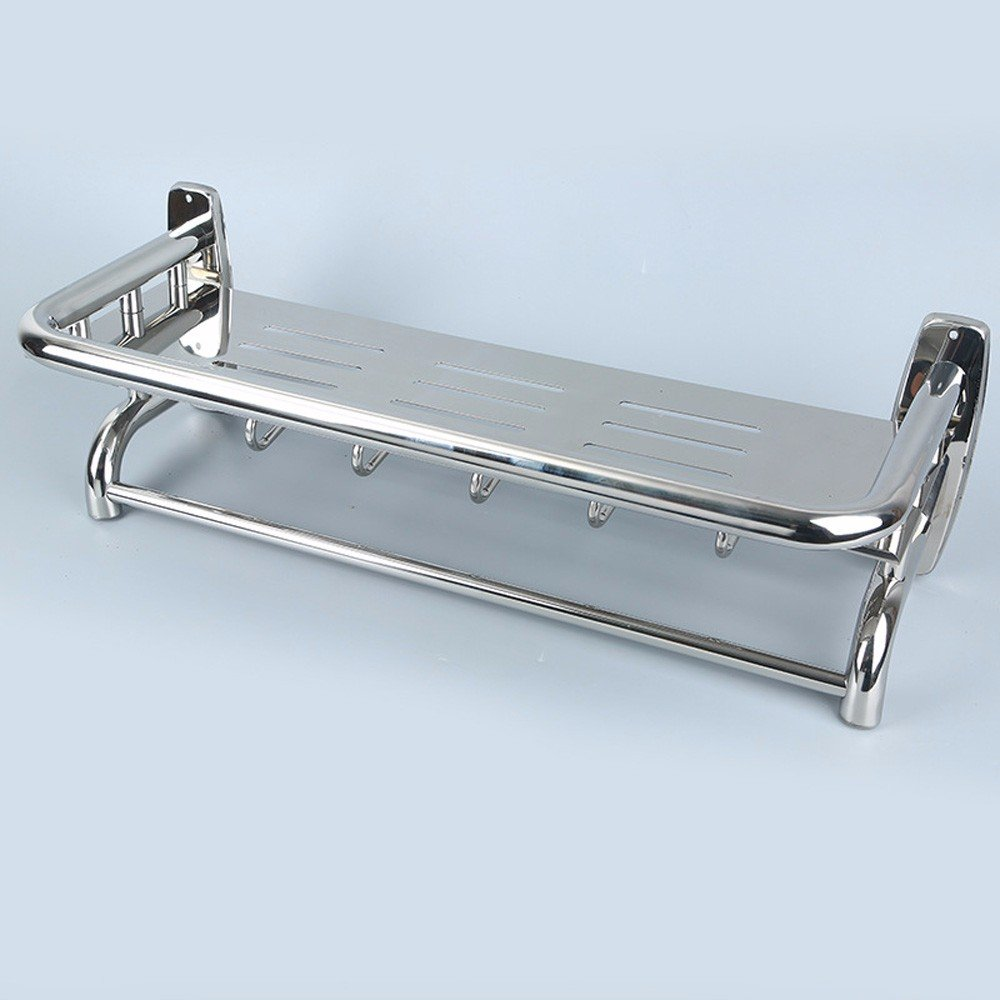 KHSKX Steel Towel rack-grade double stainless steel shelf-bathroom ...