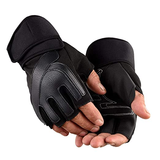 98c3393eaae1e Men's Fingerless Half Finger Unisex Bicycle Motorcycle Gloves Outdoor Sport  Gym Weight Lifting Training Gloves (