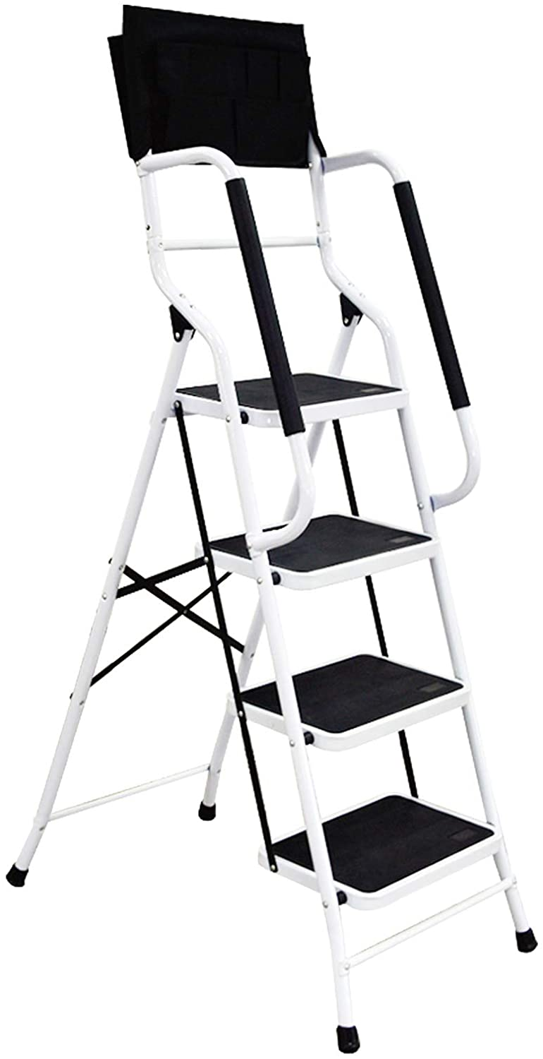 charaHOME 4 Step Ladder Step Stool 500 lb Capacity Folding Portable Ladder Steel Frame with Safety Side Handrails Non-Slip Wide Pedal Kitchen and Home Stepladder with Attachable Tool Bag - -