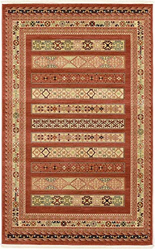 Unique Loom Fars Collection Tribal Modern Casual Rust Red Area Rug (5' 0 x 8' - Rug Collection Modern Red