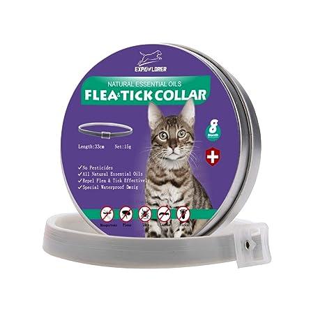 EXPAWLORER Collar de pulgas de Gato con aceites Esenciales ...