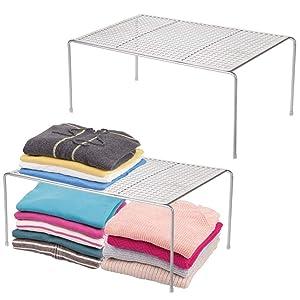 mDesign Modern Metal Closet, Cabinet, Countertop Organizer Storage Shelf for Bedrooms, Bathrooms, Entryways and Hallways - Durable Steel, Non-Skid Feet - 2 Pack - Silver