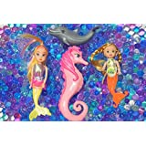 Dew Drops Ocean Water Beads Mermaid Lagoon Tactile Sensory Toys Bin Kit - Mermaids Seahorse and Dolphin Toy Animals Included
