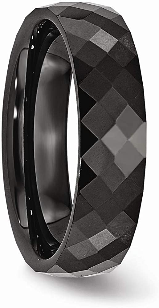 JewelryWeb Ceramic Black 6mm Faceted Polished Band Ring Size 7