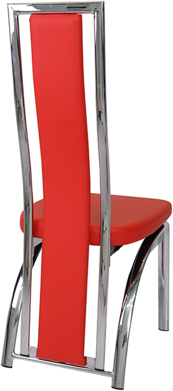 Manchester Furniture Supplies Mayfair High Back Faux Leather & Chrome Dining Chair Red (Set of 2)