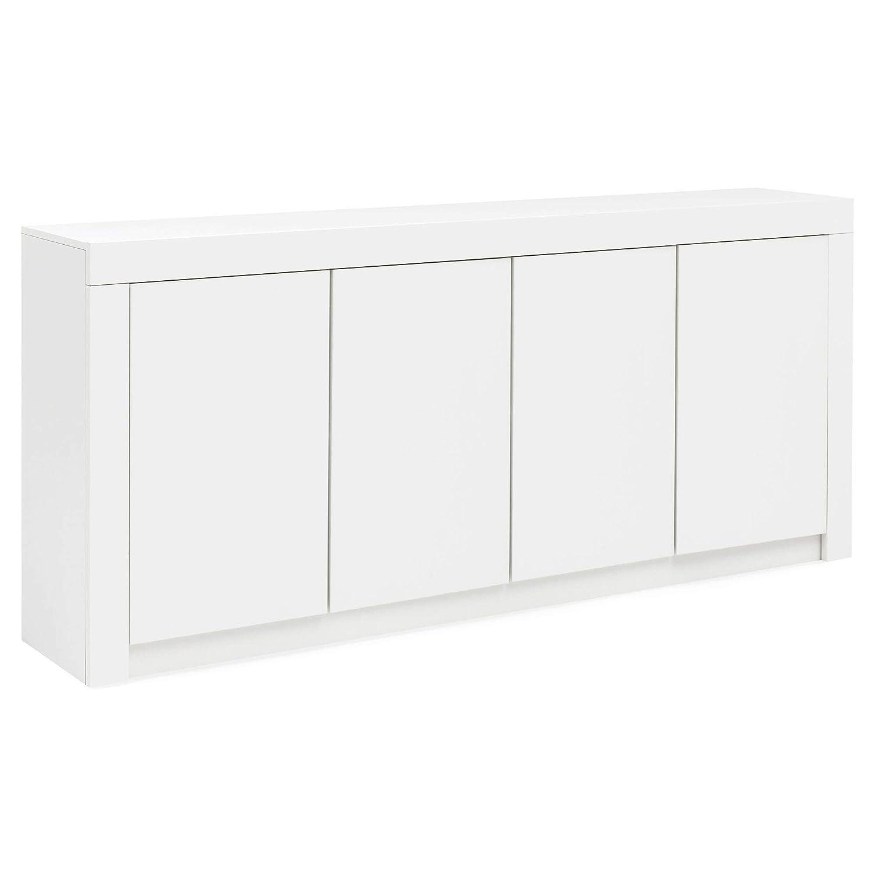 FineBuy Sideboard FB52337 Weiß Hochglanz 190x84x35 cm Design Highboard | Mehrzweckkommode mit Türen | Glanz Kommode Wohnzimmer mit Schubladen | Allzweckschrank Flur | Aktenschrank Büro Modern