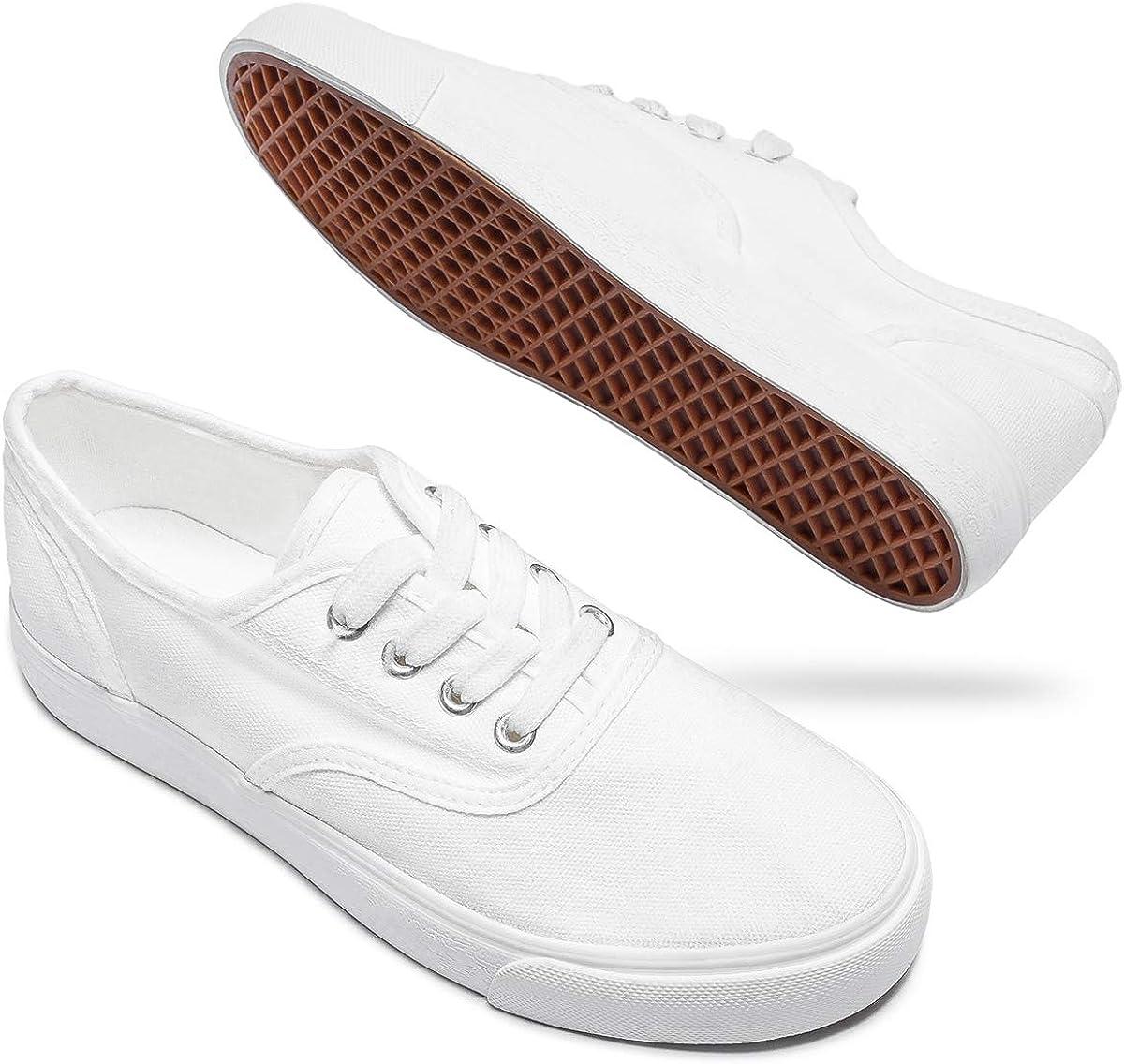 AOMAIS Womens White Canvas Shoes Casual