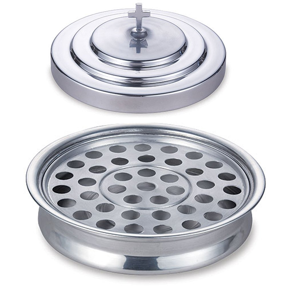 Stackable 12 1/4'' Communion Tray & Cover and 40 Hole Insert for cups - Silver Tone Aluminum