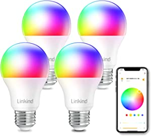 Linkind Smart WiFi Light Bulb, A19 E26 RGBW LED Color Changing, Dimmable Multicolor/Tunable White(Warm to Daylight), Compatible with Alexa, Google Home, No Hub Required, 9W (60W Equivalent), Pack of 4