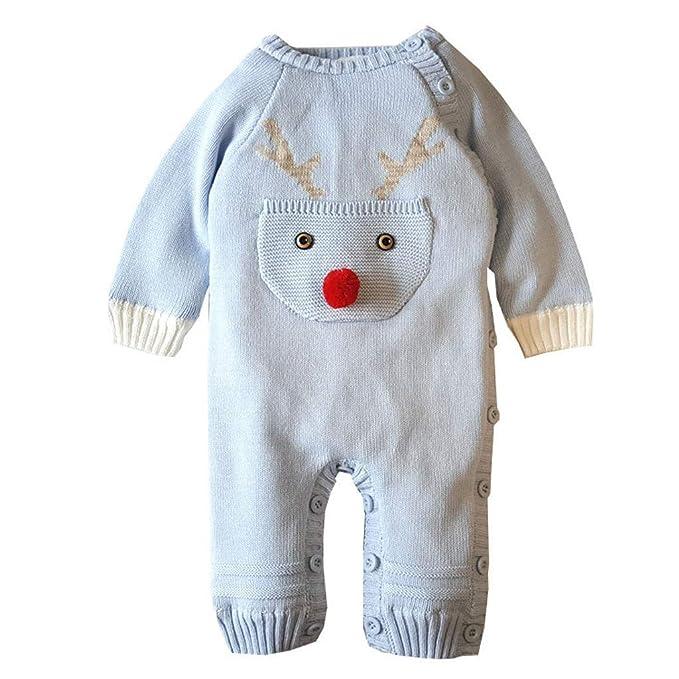 Tefamore Mameluco Punto Invierno Recién Nacido Bebé Niño Niña Manga Larga Elástico Mono Peleles Navidad Ropa: Amazon.es: Ropa y accesorios