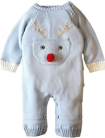 Tefamore Mameluco Punto Invierno Recién Nacido Bebé Niño Niña Manga Larga Elástico Mono Peleles Navidad Ropa