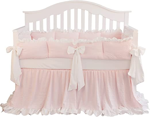 Amazon Com Blush Coral Pink Ruffle Crib Bedding Set Baby Girl