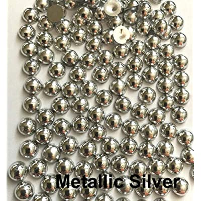 1000 pcs Half Round Flat Back Pearl Beads Multi Color (2mm, 19_Metallic Silver) ncLA12: Health & Personal Care