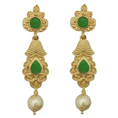443fd0b60 Buy JewelMaze Green Pota Stone Gold Plated Pearl Dangler Earrings-1313111E  Online at Low Prices in India   Amazon Jewellery Store - Amazon.in