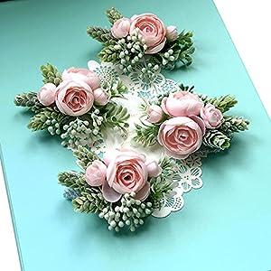 Artificial Succulent Boutonniere Bouquet Corsage Wristlet Vintage Silk Fake Pink Flowers flocked Plants For Wedding Decor 4 Pcs 2