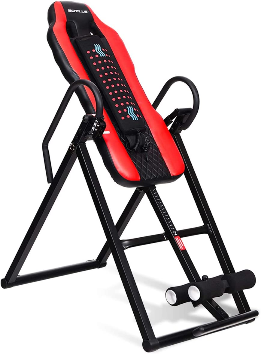 GOPLUS Heavy Duty Inversion Table Vibration Massage and Heat Comfort Back Stretching Machine with Ultra-Thick Back Support Up to 300 Lbs