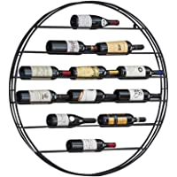 Red Wine Shelf Round Wine Rack Wall Holder Free Standing Metal | LOFT Vintage Wall Shelf Storage Rack Wall-Mounted | Cube Wine Cabinet Bottle Holder| Wall Decoration Design Vintage (Black)