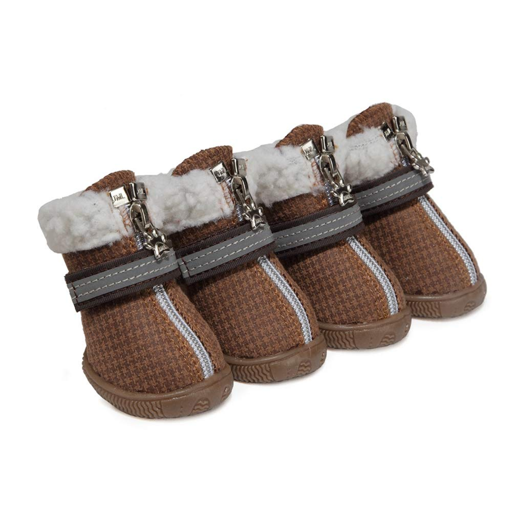 Brown 5 Brown 5 AOBRITON S-XXL Winter Warm shoes for Dogs 4Pcs Set Cute Dog Boots Snow Walking Cotton Blend Puppy Sneakers Pet Supplies Wholesale
