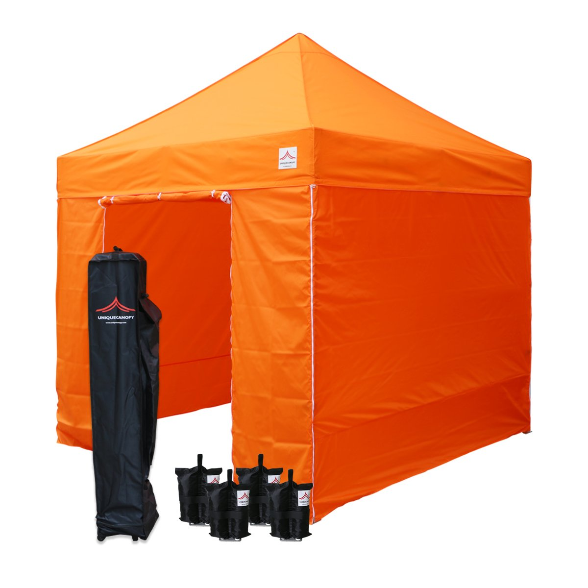 UNIQUECANOPY 8 x8 Ez Pop Up Canopy Tent Commercial Instant Shelter, with 4 Removable Zippered Side Walls and Heavy Duty Roller Bag, 4 Sand Bags Orange