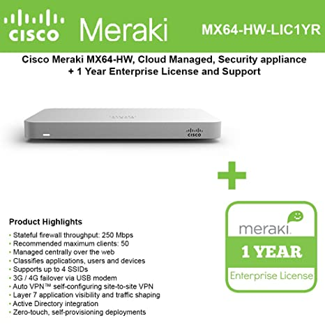 Cisco Meraki MX64 Small Branch Security Appliance Bundle, 200Mbps FW, 5xGbE Ports - Includes 1 Year Enterprise License Networking Devices at amazon