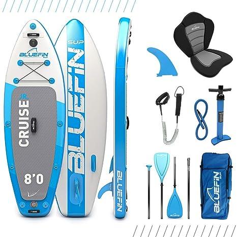 Paquete de Sup Cruise Jr de Bluefin | Tabla de Paddle Surf Hinchable para niños | Remo de Fibra de Vidrio | Kit de Conversión a Kayak | Accesorios ...