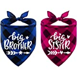 2PCS Dog Bandanas, Big Brother and Big Sister Reversible Triangle Bibs Plaid Pregnancy Announcement Puppy Kitty Boys Girls Ge