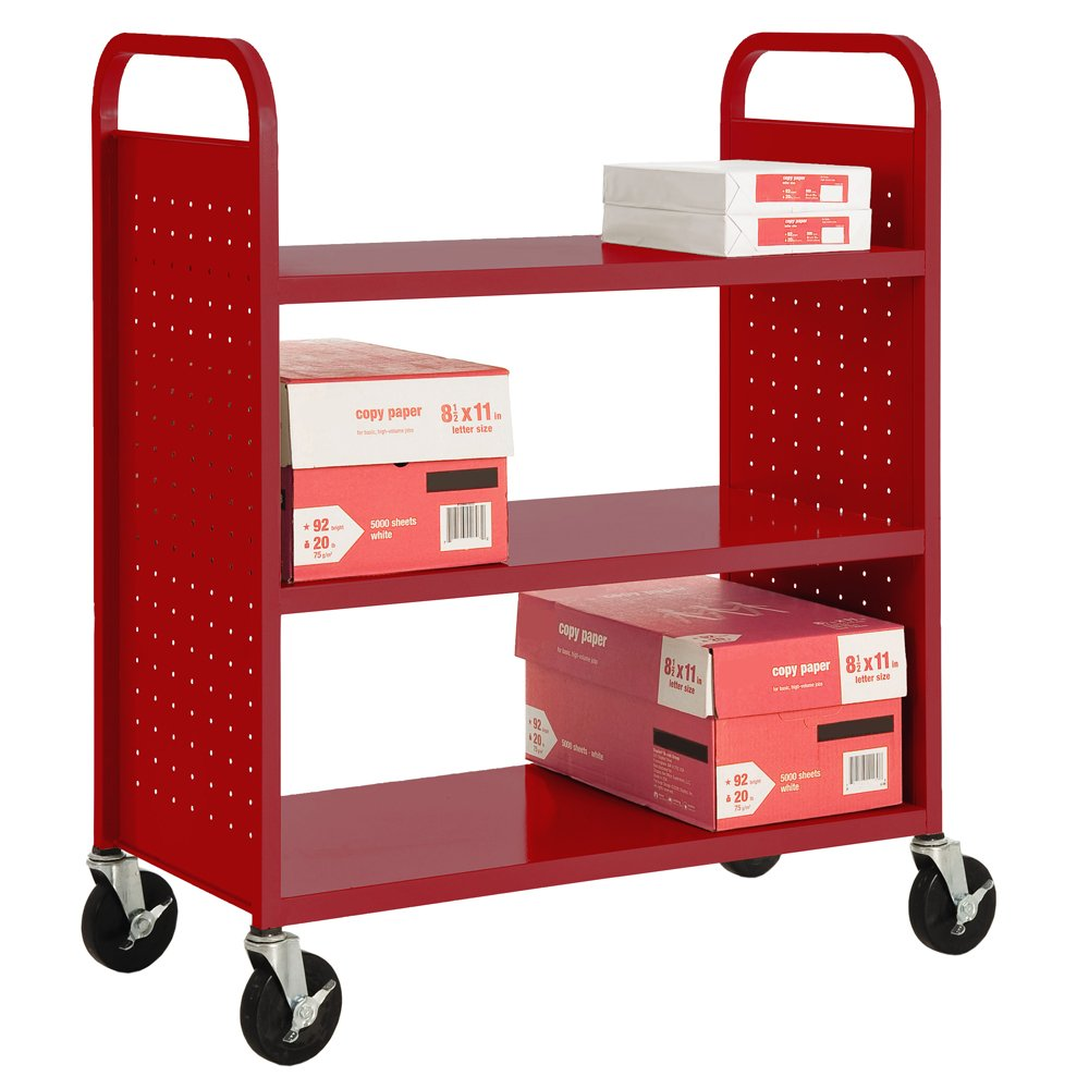 Sandusky Lee SF336-01 3 Flat Shelf Book Truck, 19'' Length, 39'' Width, 46'' Height, 3 Shelves, Fire Engine Red by Sandusky