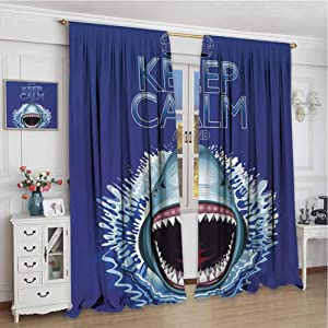 GUUVOR Sea Animals Blackout Curtain Keep Calm and Shark Jaws Attack Predators Hunter Dangerous Wild Aquatic Nature 2 Panels W96 x L96 Inch Blue White