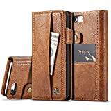 Iphone 7 PU Leather Wallet Phone Case Iphone Cover with Card Holder Smart Protective Folio Flip Case, Brown