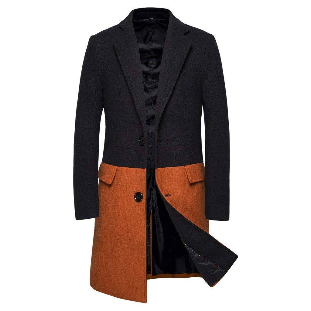 DondPO Men's Casual Trench Coat Fashion Business Down Jacket Trench Topcoat Long Slim Overcoat Outwear Winter Orange