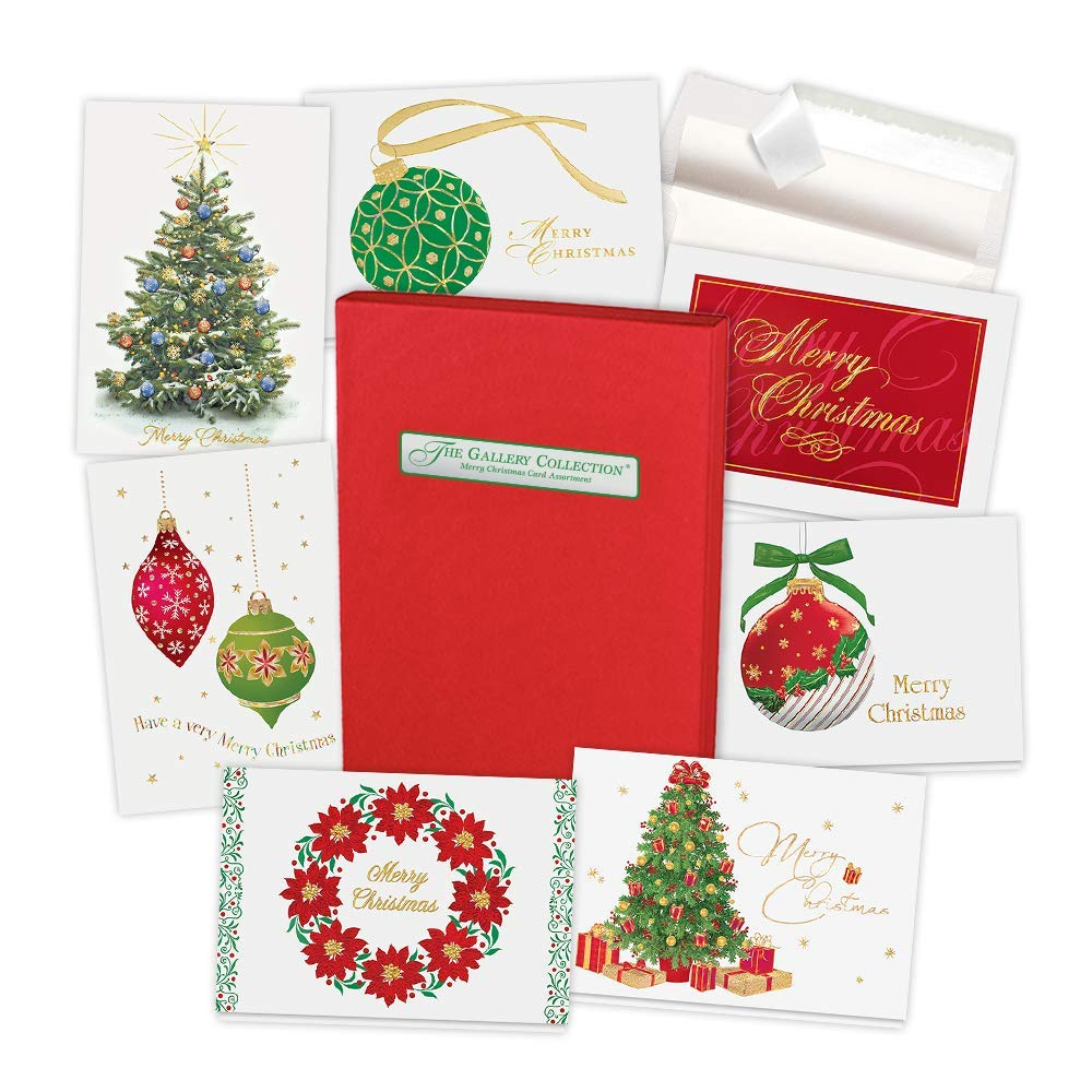 The Gallery Collection Christmas Cards.Christmas Cards Assortment Box 35 Greeting Cards With Foil And Embossing Merry Christmas