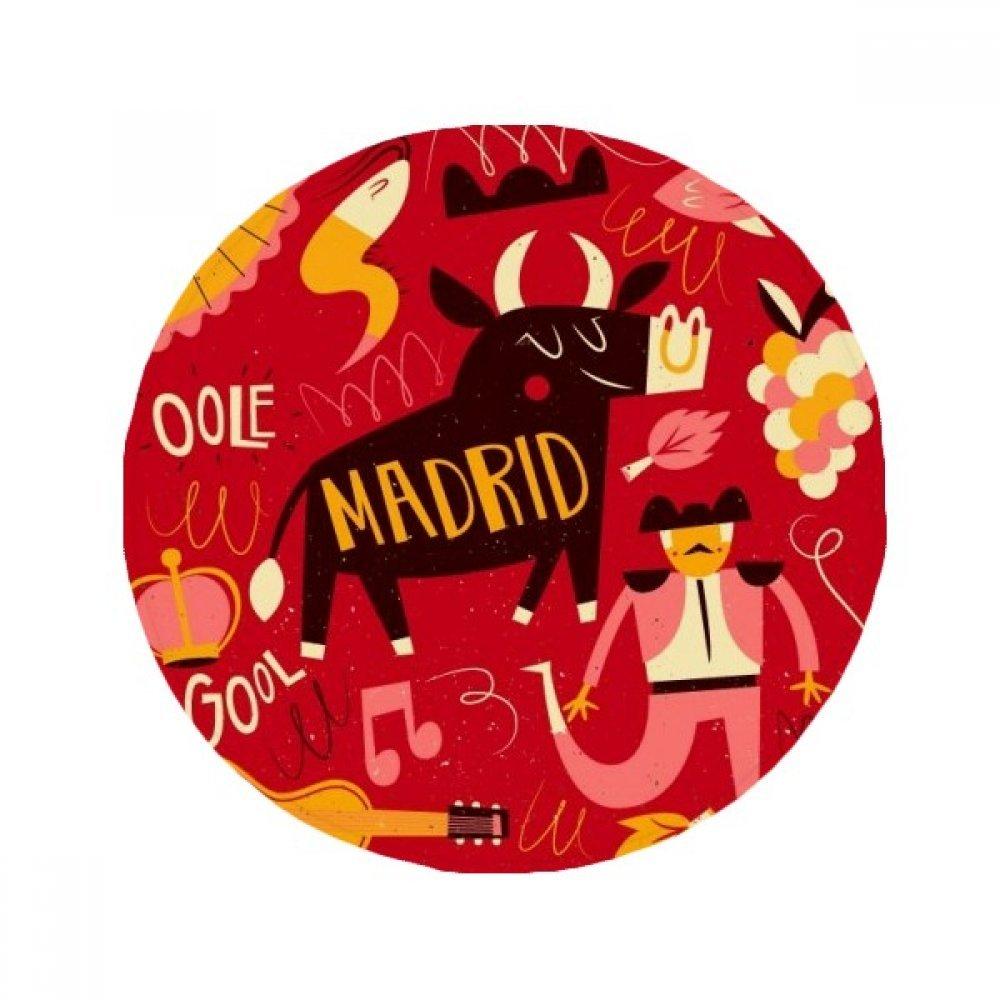 60X60cm DIYthinker Madrid Spanish Bullfight Music Fiesta Anti-Slip Floor Pet Mat Round Bathroom Living Room Kitchen Door 60 50Cm Gift