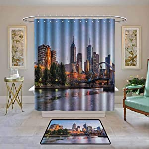 """Kenneth Camilla01 Waterproof Shower Curtain City,Early Morning Scenery in Melbourne Australia Famous Yarra River Scenic, Orange Green Pale Blue,Bathroom Curtains for Shower with Hooks Set 48""""x72"""""""