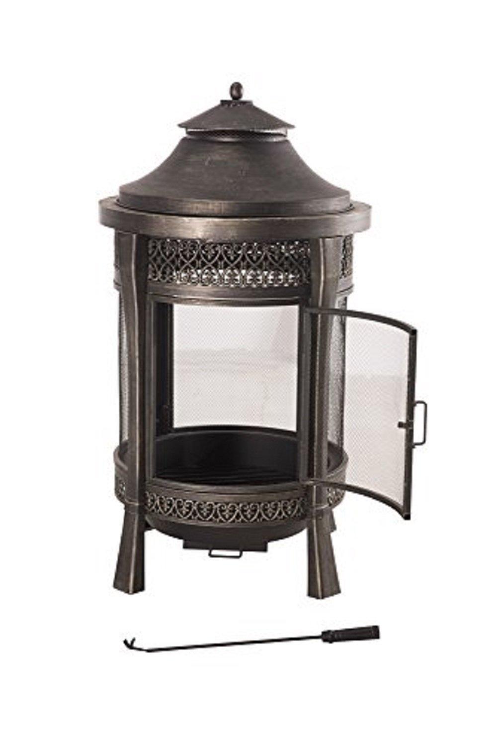 amazon com sunjoy large cast steel outdoor fireplace 62