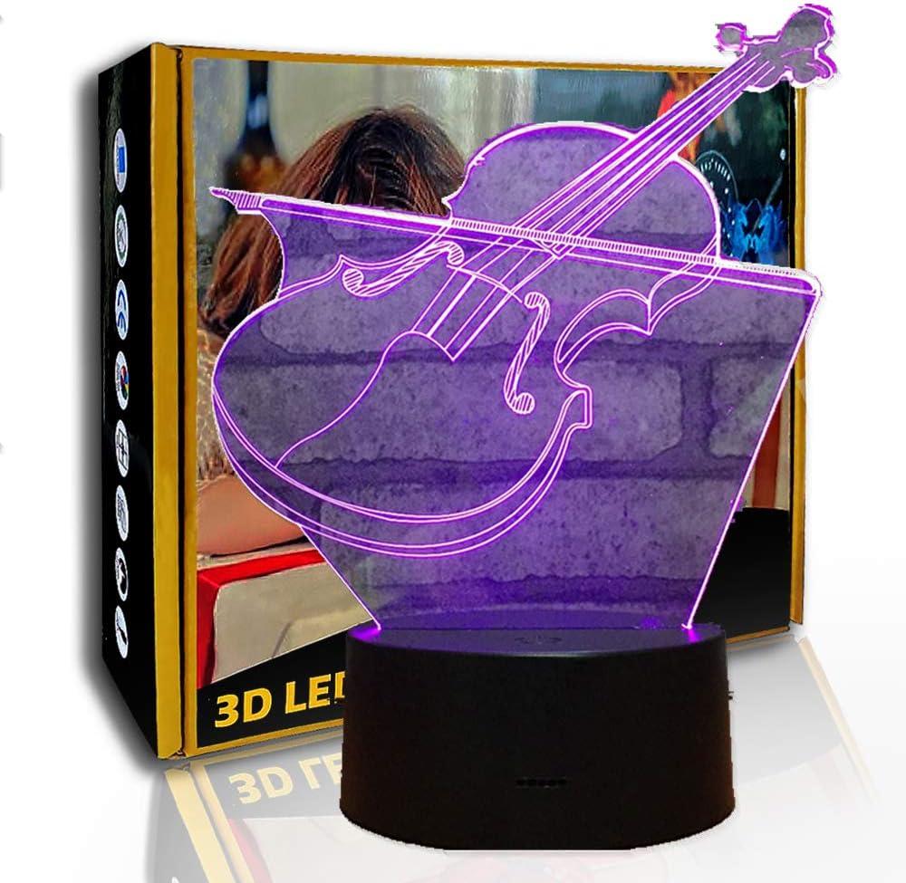 KangYD 3D Luz nocturna Guitar Violin Instrument, Lámpara de noche LED Illusion, B- Base negra remota (7 colores), Lámpara de noche, Lámpara Novedad